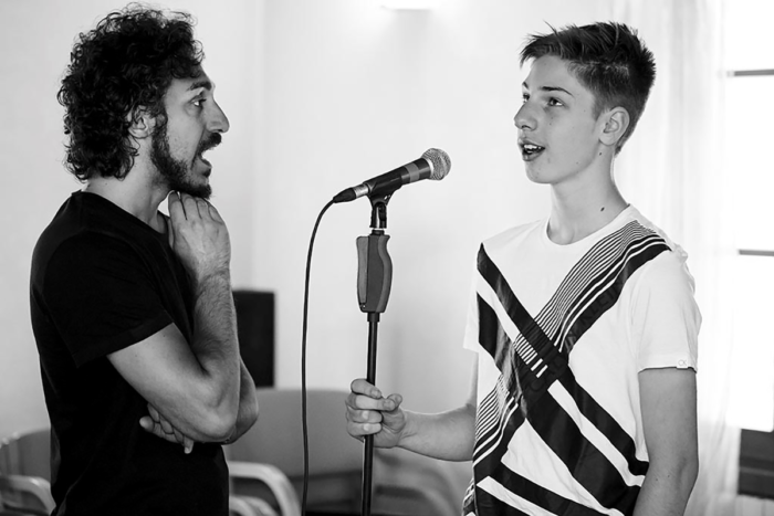 Giacomo Buccheri e un allievo durante una lezione di canto del Campus Estivo 2017